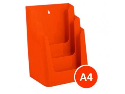 Stolní stojánek na letáky 3xA4, oranžový