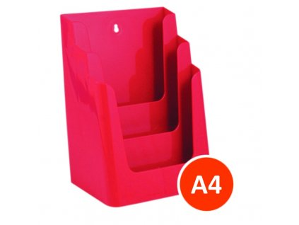 Stolní stojánek na letáky 3xA4, červený