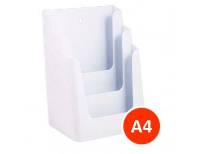 Stolní stojánek na letáky 3xA4, bílý