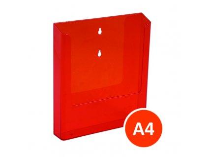 Nástěnný zásobník na letáky A4, tónovaný oranžový