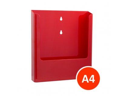 Nástěnný zásobník na letáky A4, červený