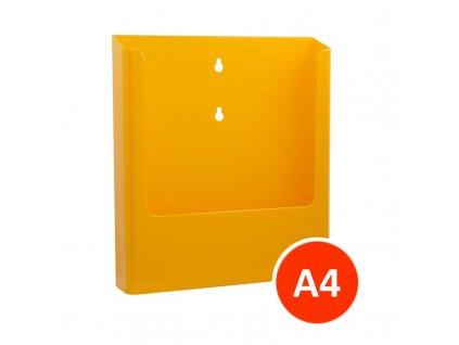 Nástěnný zásobník na letáky A4, žlutý