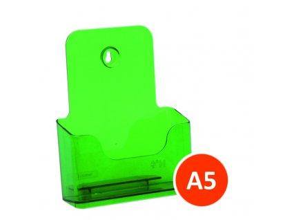 Stolní stojánek na letáky A5, tónovaný zelený, balení 30ks
