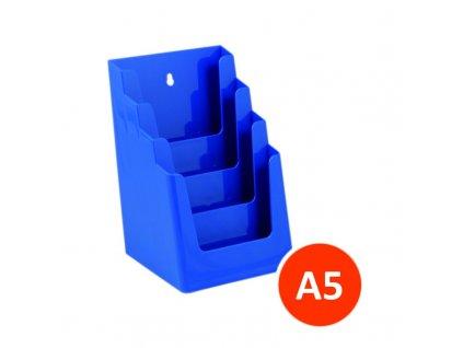 Stolní stojánek na letáky 4xA5, modrý