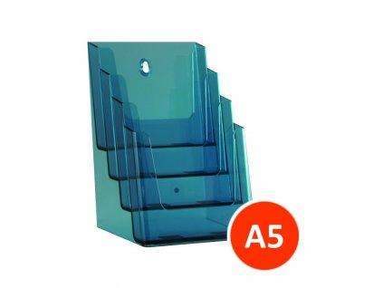 Stolní stojánek na letáky 4xA5, tónovaný modrý, balení 12ks