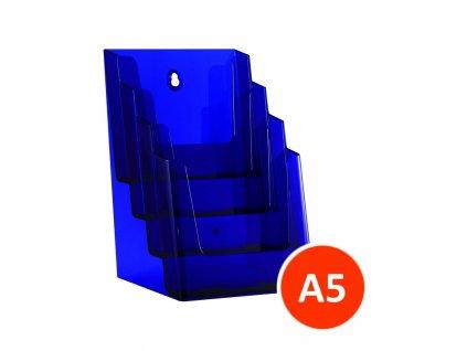 Stolní stojánek na letáky 4xA5, tónovaný fialový