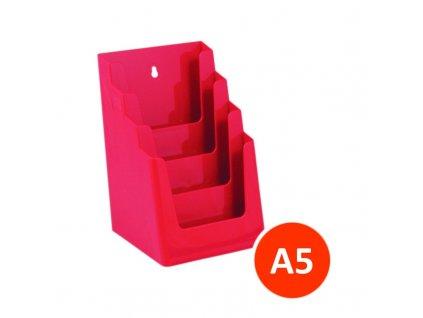 Stolní stojánek na letáky 4xA5, červený, balení 12ks