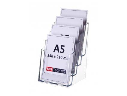 Stolní stojánek na letáky 4xA5, transparentní