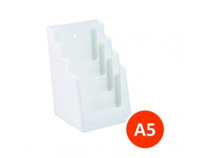 Stolní stojánek na letáky 4xA5, bílý, balení 12ks