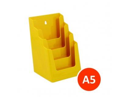 Stolní stojánek na letáky 4xA5, žlutý