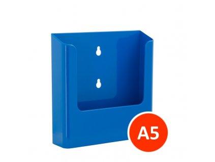 Nástěnný zásobník na letáky A5, modrý, balení 22ks