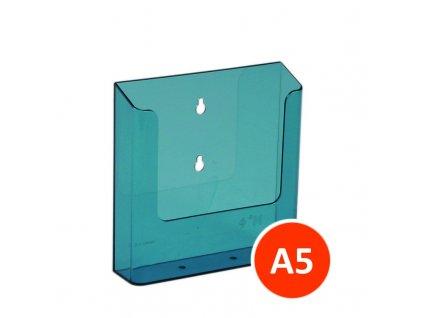 Nástěnný zásobník na letáky A5, tónovaný modrý