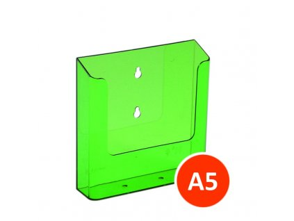 Nástěnný zásobník na letáky A5, tónovaný zelený