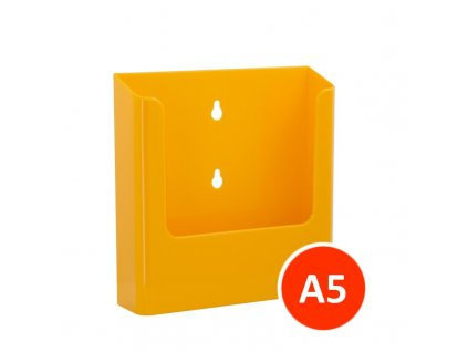 Nástěnný zásobník na letáky A5, žlutý, balení 22ks