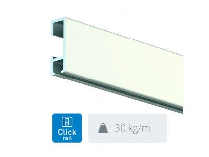Nástěnná lišta Click Rail, bílá - 300 cm