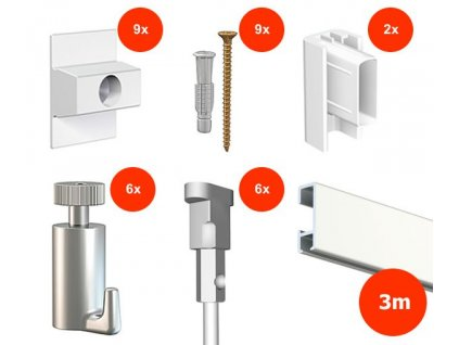 Nástěnný set na obrázky - Click Rail 3m, bílý + 6x perlon včetně háčků