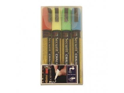 Křídový popisovač, hrot 2-6 mm, různé barvy, blistr 4 ks