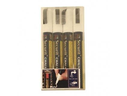Křídový popisovač, hrot 2-6 mm, bílá barva, blistr 4 ks