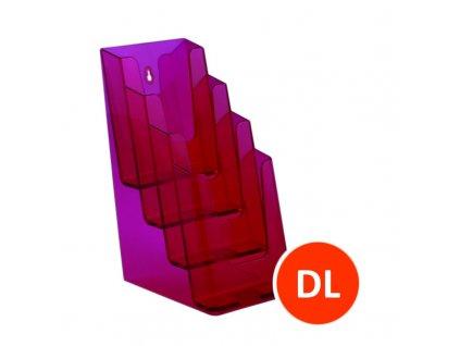 Stolní stojánek na letáky 4xDL, tónovaný červený, balení 16ks
