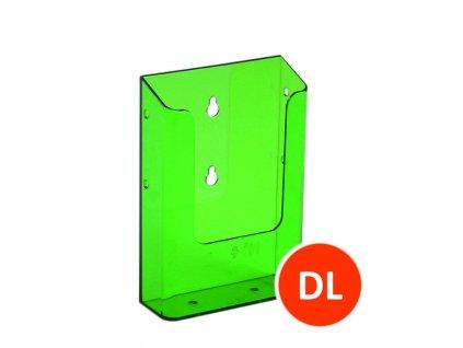 Nástěnný zásobník na letáky DL, tónovaný zelený