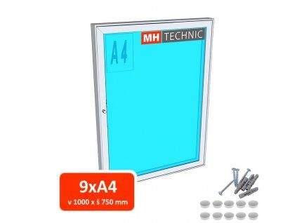 Venkovní informační vitrína MH60, 1000x750 mm (9xA4)