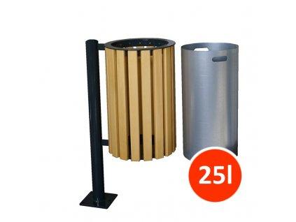 Venkovní odpadkový koš PC, 25 litrů