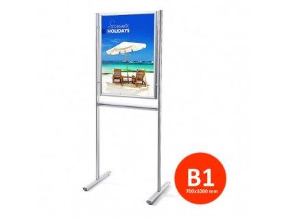 Stojan Info Board s klaprámem 700x1000 mm, oboustranný