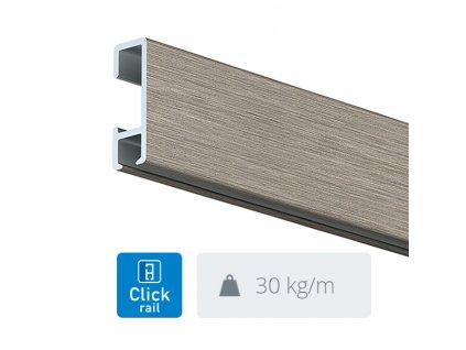 Nástěnná lišta Click Rail, přírodní hliník - 300 cm