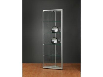 Rohová skleněná vitrína 500x1984x500 mm, bez osvětlení