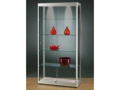 Skleněná vitrína 1000x2000x400 mm, s LED osvětlením, posuvné dveře