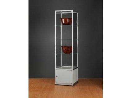 Skleněná vitrína 500x1984x500 mm s úložným prostorem, bez osvětlení