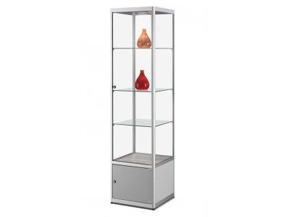 Skleněná vitrína 500x2000x500 mm s úložným prostorem, LED osvětlení