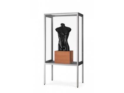 Prachotěsná skleněná vitrína 1000x1972x400 mm s nohami, bez osvětlení