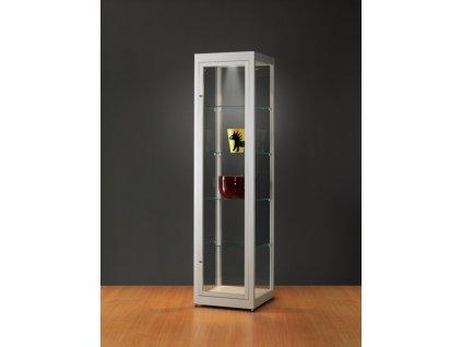 Prachotěsná skleněná vitrína 500x1972x500 mm, LED osvětlení