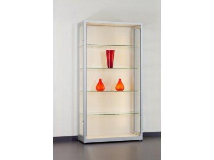 Prachotěsná skleněná vitrína 1000x1972x400 mm, plná zadní stěna, LED osvětlení vertikální