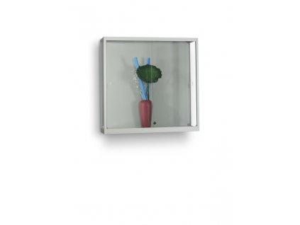 Nástěnná skleněná vitrína 1000x984x300 mm, bez osvětlení