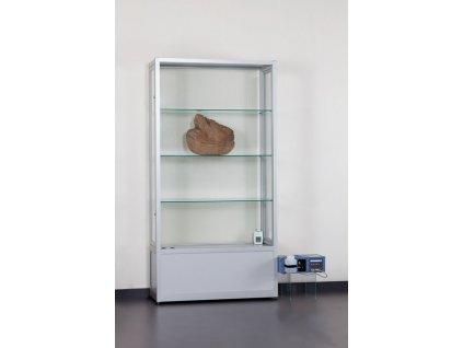 Klimatizovaná skleněná vitrína 1000x1972x400 mm s úložným prostorem