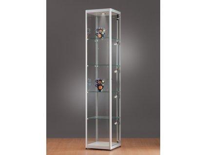 Skleněná vitrína 400x2000x400 mm, boční a stropní LED osvětlení