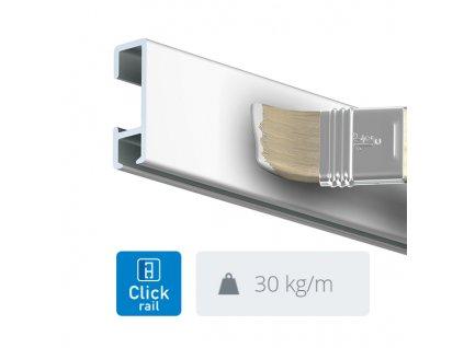 Nástěnná lišta Click Rail, bílá přetíratelná - 300 cm