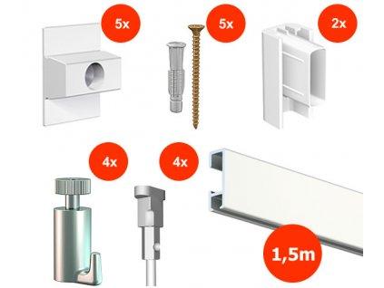 Nástěnný set na obrázky - Click Rail 1,5m, bílý + 4x perlon včetně háčků