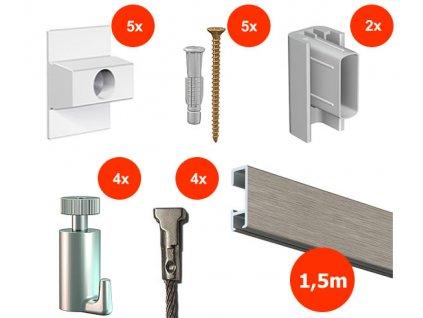 Nástěnný set na obrázky - Click Rail 1,5m, hliníkový + 4x ocelové lanko včetně háčků