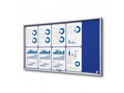 SCSLGFBLUE10xA4 Interiérová vitrína 10xA4 SLIM, posuvné dveře, plstěná záda modrá