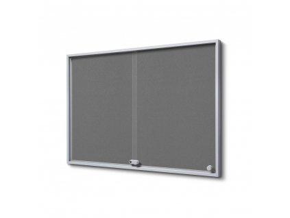SCSLGFGREY8xA4 Interiérová vitrína 8xA4 SLIM, posuvné dveře, plstěná záda šedá