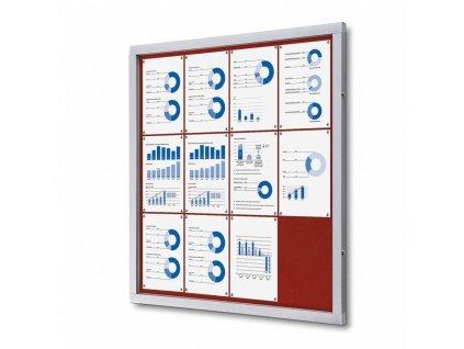 SCOFRED12xA4 Informační vitrína 12xA4, červená textilní záda