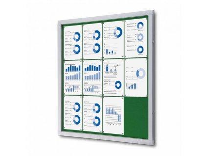 SCOFGREEN12xA4 Informační vitrína 12xA4, zelená textilní záda