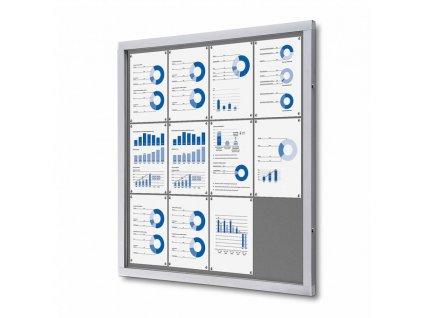 SCOFGREY12xA4 Informační vitrína 12xA4, šedá textilní záda