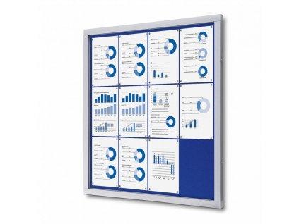 SCOFBLUE12xA4 Venkovní uzamykatelná vitrína typu T, 12xA4, textilní zadní stěna - modrá