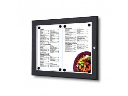Černý Menuboard s vitrínou 2xA4, bez topkarty SCZN2xA4C9005