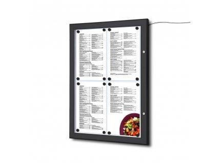 Černá Menu vitrína 4xA4, osvětlená, bez topkarty SCZN4xA4C9005LED