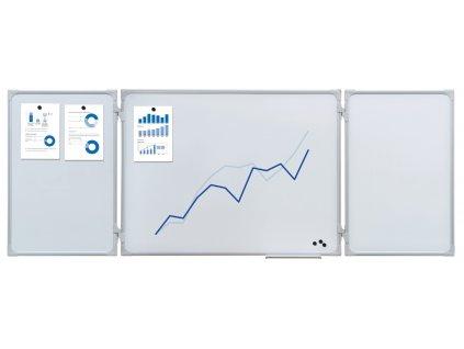 Magnetická rozkládací tabule 150/300 x 100 cm, bílá MPWB150x100/300